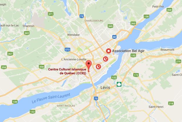 L'attentat s'est produit aux alentours de 20 heures dans la Grande Mosquée de Québec, dimanche 29 janvier 2017 - DR : Google Maps
