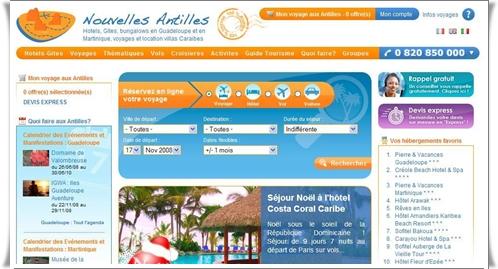 Centrale de réservation proposant plus de 300 références produits, NouvellesAntilles.com est également en passe de devenir LE guide touristique de référence sur l'archipel caribéen.