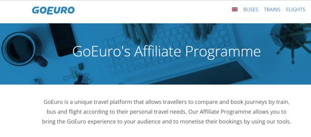 Capture d'écran de la page de présentation du nouveau programme d'affiliation de GoEuro pour les professionnels du tourisme