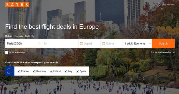 Le nouveau site Kayak.eu qui permet de cherche des offres de voyages dans 5 pays européens - Capture écran
