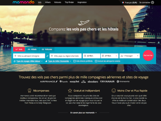 Le groupe Priceline (Booking.com, Kayak...) a annoncé mardi 7 février son intention d'acquérir le comparateur Momondo (c) Capture Momondo