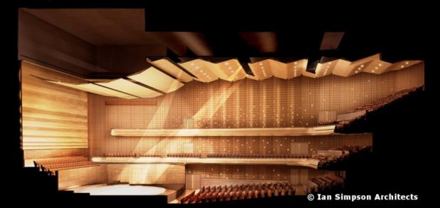 Avec ses 2.020 fauteuils d'auditorium, la toute nouvelle salle de concert est le fleuron du Flanders Meeting & Convention Center Antwerp - Photo Ian Simpson Architecs