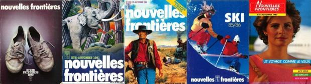 Les brochures Nouvelles Frontières 1980, 1981, 1982, 1985 et 1987 - DR : Groupe TUI