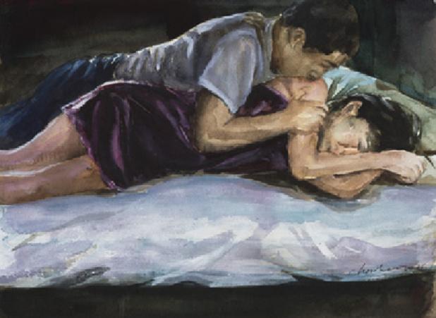 26e édition du Salon du Dessin. Oeuvre de Chen Han (né en 1973), Night Glimmer, 2016,  aquarelle sur papier, 24x33cm, Galerie Hadrien de Montferrand, Pékin