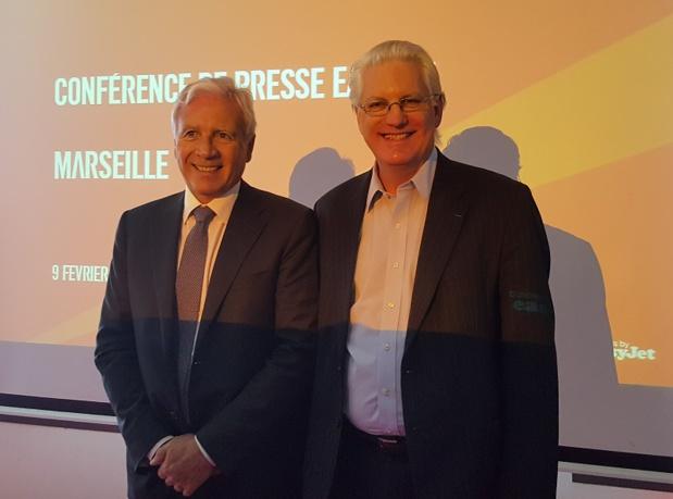 Pierre Régis, président du directoire de l'aéroport Marseille Provence et François Bacchetta, DG France d'easyjet - DR : A.B.
