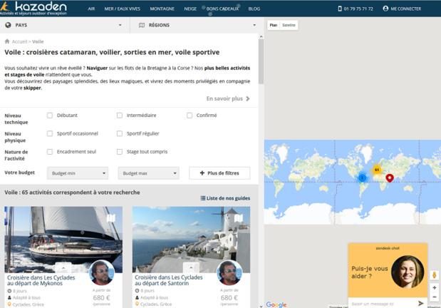 Le site Kazaden propose des croisières en voilier avec skipper - Caprture écran