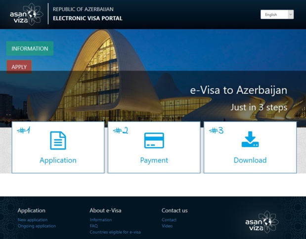 Azerbaïdjan : le site de demande de visa électronique - Capture écran