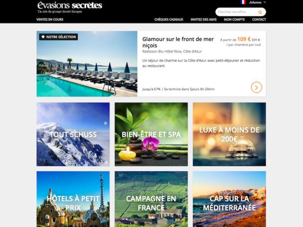 En France, Evasions Secrètes rassemble une communauté de 1 000 000 membres et 500 partenaires hôteliers (c) capture d'écran evasionssecretes.fr