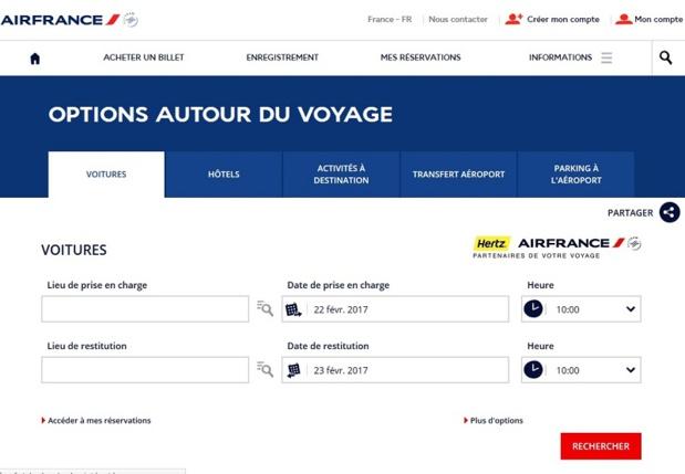 Partenariat Hertz - Air France : Un nouveau site Internet dédié aux clients d'Air France est spécialement lancé pour l'occasion - DR capture écran