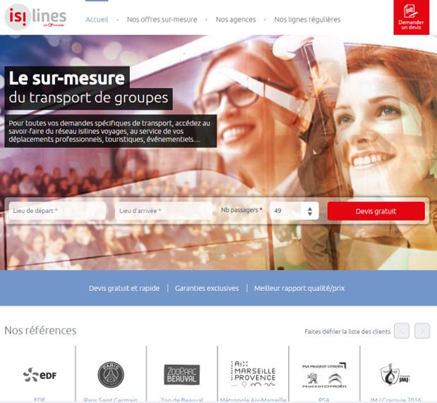 voyages.isilines.fr permet d'effectuer des demandes de devis pour des groupes - Capture d'écran
