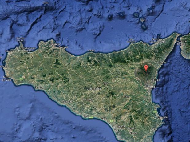L'Etna (Sicile orientale), qui connaît un regain d'activité depuis le mois de janvier dernier, est entré en éruption le 27 février 2017 - Capture écran Google Map