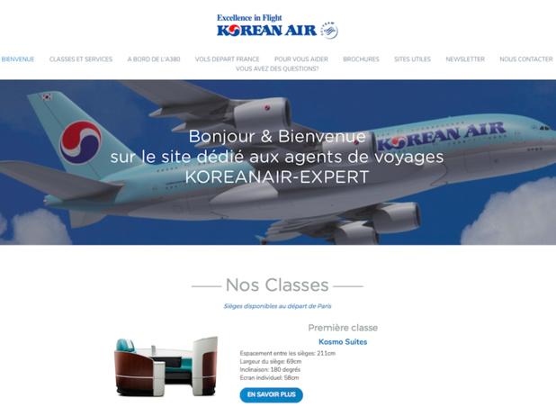 Le nouveau site de Korean Air offre de nombreux détails aux professionnels du voyage - Capture d'écran