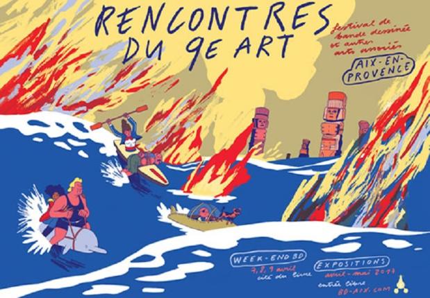 Rendez-vous avec 5O auteurs internationaux durant les rencontres du 9e art d'Aix en Provence du 1er avril au 28 mai 2017. Affiche de Simon Roussin