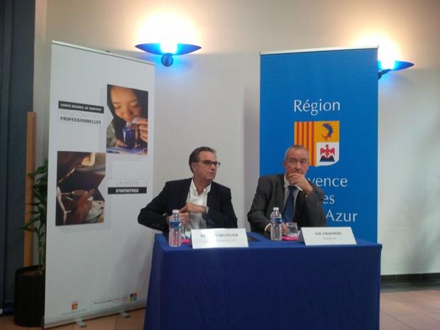 Renaud Muselier, président du CRT PACA et Luc Fauchois, président de l'Association de Visite d'Entreprise (AVE) joignent leurs efforts pour aider à promouvoir le tourisme d'entreprise - DR : Aurélie Resch