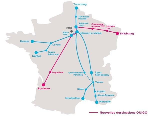 La carte des lignes de train desservies par OUIGO - DR SNCF