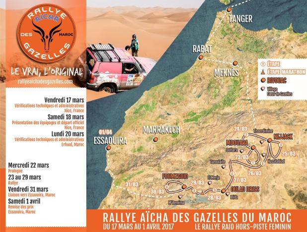 Parcours 2017 - DR Rallye Aïcha des Gazelles