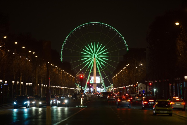 Le 17 mars, la Roue de Paris aux couleurs de l'Irlande. Photo O.T.