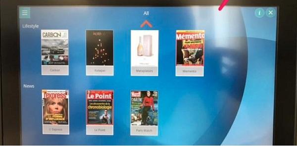 """Le nouveau service, appelé """"E-READER"""" proposé par Air Austral permet de feuilleter des magazines sur l'écran individuel à bord des avions long-courrier - Photo Air Austral"""
