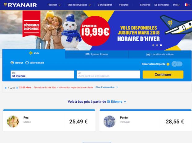 Le site et l'application mobile de Ryanair seront indisponibles pendant 8 heures - Capture d'écran Ryanair