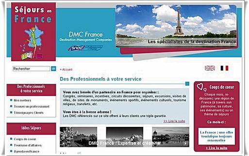 Rédigé pour le moment en français et en anglais, DMC France fait valoir les qualités de service des agences de voyages françaises (garantie, RCP, professionnalisme).
