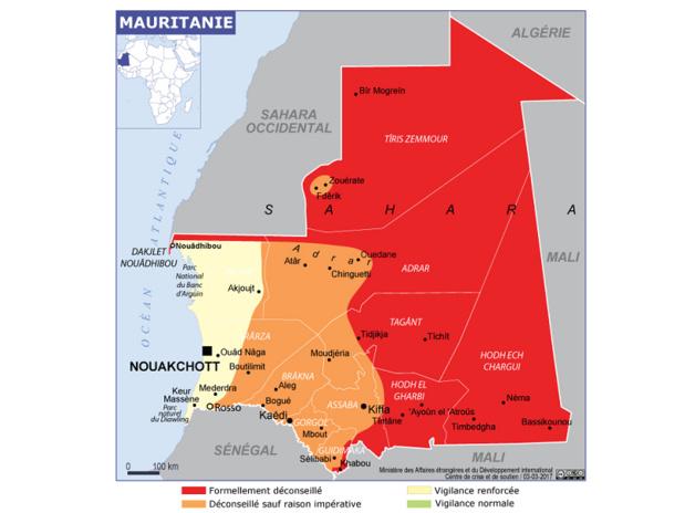 La carte des Conseils aux Voyageurs du Quai d'Orsay pour la Mauritanie - DR : Conseils aux Voyageurs