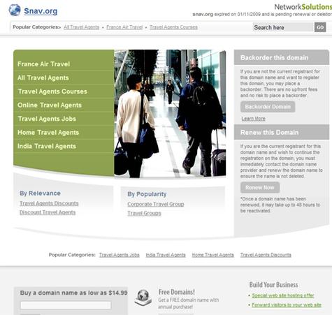 La page web qui s'affiche à la place du site du SNAV