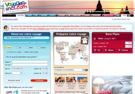 Voyages-sncf.com : le volume d'affaires grimpe de 20% en 2008