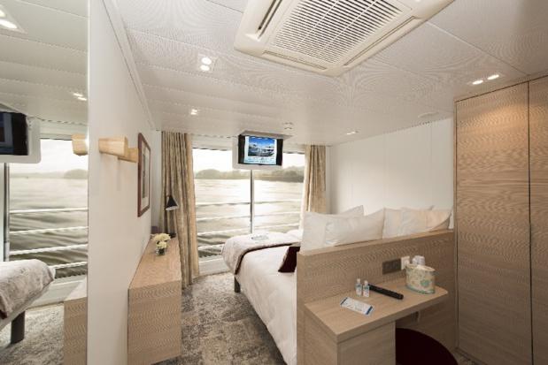 Les cabines sont spacieuses et confortables. Deux grands lits séparés assurent des nuits paisibles - DR : CroisiEurope