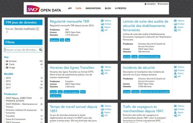 La plateforme data.sncf.com dédiée à l'Open Data de la SNCF - Capture écran