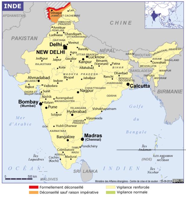 La région du Cachemire et ses alentours sont déconseillés par le ministère des Affaires étrangères - DR : MAE