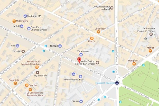 Une fusillade a eu lieu sur les Champs Elysées, un policier aurait été tué - DR GoogleMap