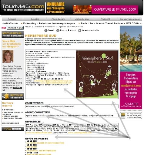 Une fiche complète (presque un mini site) permet de présenter l'entreprise, ses contacts, son site web, ses compétences, références, atout compétitif, etc