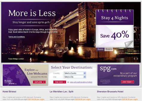 Starwood Hotels lance l'opération ''More is less''
