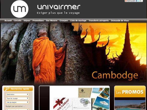 Univairmer continue de développer son réseau d'agences de voyages en France - Capture d'écran