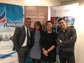 Photo de gauche à droite : Alessio Monterosso - Sales Executive -  Bangkok Airways, Armelle François - Key Account Manager - Bangkok Airways, Chanda Dan - Sales Executive - Oman Air et Jean-BenoîtValla - Account Manager - Centara Hotels & Resorts
