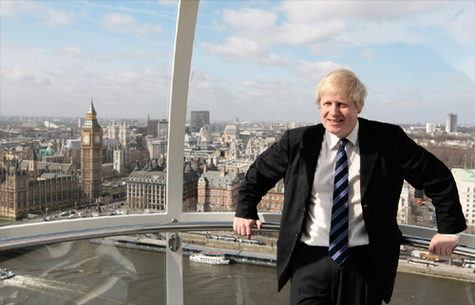 Le maire de Londres, Boris Johnson présente la nouvelle campagne à bord de la London Eye