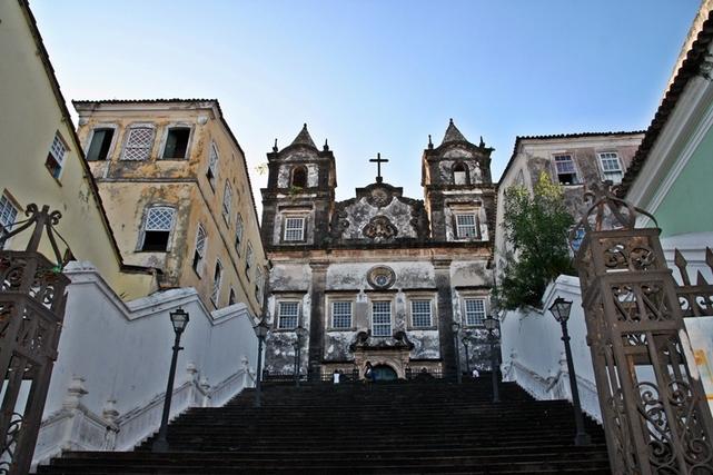 Une église du quartier du Pelourinho à Salvador da Bahia, classée au patrimoine de l'Unesco