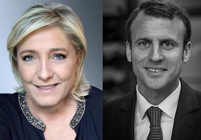 Marine le Pen (FN) et Emmanuel Macron (En Marche) sont les deux candidats du second tour de l'élection présidentielle française 2017 - Photos officielles