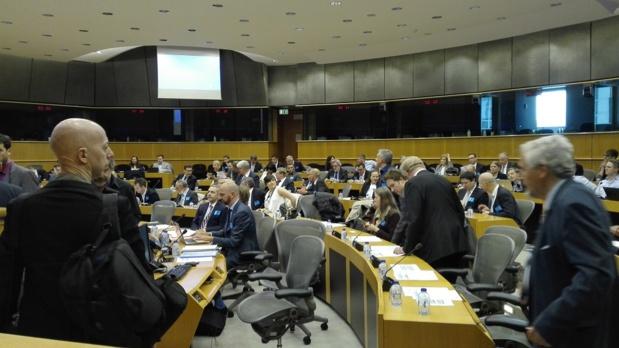 Les représentants des professionnels européens du tourisme réunis au Parlement européen de Bruxelles - Photo : P.C.