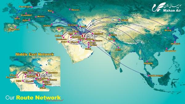 Le réseau de la compagnie Mahan Air - DR