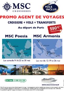MSC Croisières : promos agents de voyages en mai