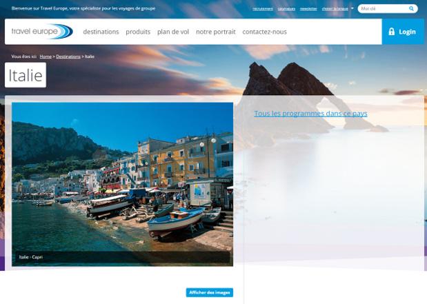 La page de présentation de l'Italie sur le site Internet de Travel Europe - Capture d'écran
