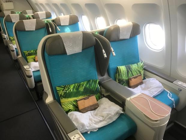 Les A340/300 qui desservent la Polynésie disposent en Classe affaires de 32 places divisées en 3 rangées. /photo JDL