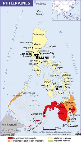 La carte des recommandations de sécurité du Quai d'Orsay pour les Philippines - DR : Conseils aux Voyageurs