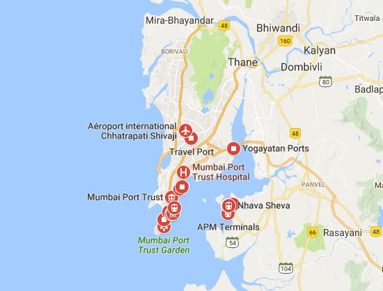 Il est désormais possible d'arriver en Inde par le port de Mumbai avec un visa électronique - DR : Google Maps