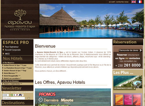 Le nouveau site web d'Apavou Hotels - Resorts & Spa