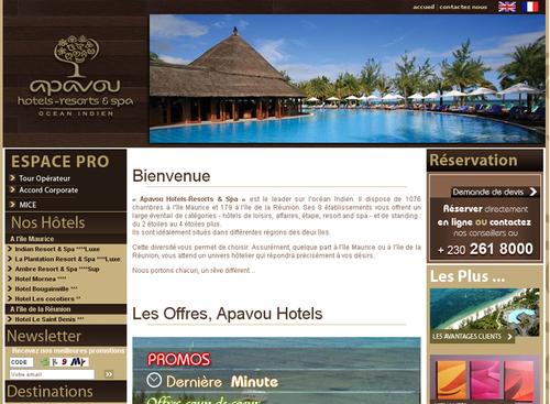 Le nouveau site web d'Apavou Hotels - Resorts & Spa