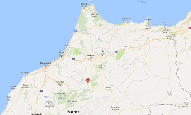 L'accident s'est produit près de Khenifra, dans le centre du Maroc - DR : Google Maps