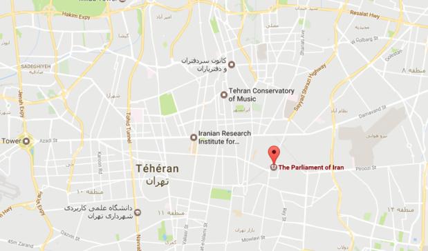 L'une des deux fusillades s'est produite au Parlement iranien, dans le cœur de Téhéran - DR : Google Maps