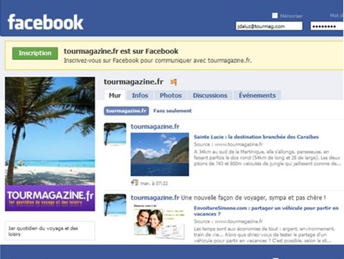 TourMagazine.fr, support grand public de TourMaG.com ne vend pas de voyages mais dispose aussi d'un groupe de fans sur Facebook (cliquer)
